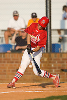 Robert Stock #35 of the Johnson City Cardinals makes contact with the baseball at Howard Johnson Stadium June 27, 2009 in Johnson City, Tennessee. (Photo by Brian Westerholt / Four Seam Images)