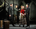 """English Touring Opera presents """"Don Giovanni"""", by Wolfgang Amadeus Mozart, at the Hackney Empire.  Directed by Lloyd Wood, with set & costume design by Anna Fleischle and lighting design by Guy Hoare. Picture shows:  George von Bergen (Don Giovanni), Lucy Hall (Zerlina), Bradley Travis (Masetto)."""