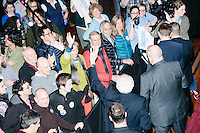 Vermont senator and Democratic presidential candidate Bernie Sanders greets people after speaking at a town hall at the Rochester Opera House in Rochester, New Hampshire, on Thurs., Feb. 4, 2016. Press and attendee turnout was low for the event because of scheduling issues. The rally had been scheduled for the previous day, postponed, and then rescheduled just a few hours before the event took place. Later that night, Sanders took part in an MSNBC-sponsored debate with Hillary Rodham Clinton.