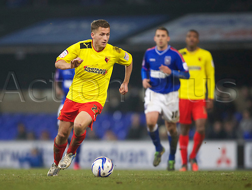 19.02.2013 Ipswich, England.  Almen Abdi in action during the Championship game between Ipswich Town and Watford at Portman Road.