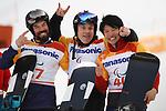 (L-R) Matti Suur-Hamari (FIN), Keith Gabel (USA), Gurimu Narita (JPN),  MARCH 12, 2018 - Snowboarding :  Men's Snowboard Cross Standing Flower Ceremony  at Jeongseon Alpine Centre  during the PyeongChang 2018 Paralympics Winter Games in Pyeongchang, South Korea.  (Photo by Sho Tamura/AFLO SPORT)