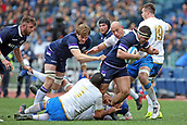 17th March 2018, Stadio Olimpico, Rome, Italy; NatWest Six Nations rugby, Italy versus Scotland; Simone Ferrari, Sergio Parisse and Abraham Stey of Italy challenge Stuart McInally of Scotland