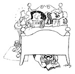 (A couple reading in bed, with a burglar also reading under their bed)