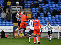 Bolton Wanderers' Mark Beevers competing with Millwall's Tom Elliott <br /> <br /> Photographer Andrew Kearns/CameraSport<br /> <br /> The EFL Sky Bet Championship - Bolton Wanderers v Millwall - Saturday 9th March 2019 - University of Bolton Stadium - Bolton <br /> <br /> World Copyright © 2019 CameraSport. All rights reserved. 43 Linden Ave. Countesthorpe. Leicester. England. LE8 5PG - Tel: +44 (0) 116 277 4147 - admin@camerasport.com - www.camerasport.com