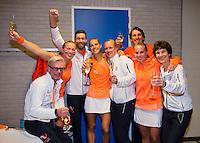Februari 08, 2015, Apeldoorn, Omnisport, Fed Cup, Netherlands-Slovakia, Dutch team celebrates<br /> Photo: Tennisimages/Henk Koster