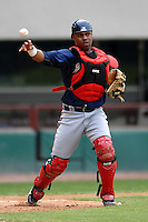 Catcher Wilkin Castillo of the Gwinnett Braves during a game versus the Pawtucket Red Sox on May 12, 2011 at McCoy Stadium in Pawtucket, Rhode Island. Photo by Ken Babbitt /Four Seam Images