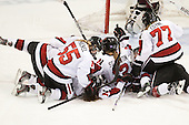 Tori Hickel (NU - 55), Paige Savage (NU - 28), Sonia St. Martin (NU - 12), Kendall Coyne (NU - 77), Kelly Wallace (NU - 5) - The Northeastern University Huskies defeated Boston College Eagles 4-3 to repeat as Beanpot champions on Tuesday, February 12, 2013, at Matthews Arena in Boston, Massachusetts.