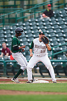 Fort Wayne TinCaps first baseman Brad Zunica (35) waits for a throw as Brendon Davis (3) gets back to the bag during the second game of a doubleheader against the Great Lakes Loons on May 11, 2016 at Parkview Field in Fort Wayne, Indiana.  Great Lakes defeated Fort Wayne 5-0.  (Mike Janes/Four Seam Images)