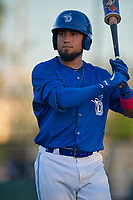 Dunedin Blue Jays Norberto Obeso (5) during a Florida State League game against the Clearwater Threshers on May 11, 2019 at Jack Russell Memorial Stadium in Clearwater, Florida.  Clearwater defeated Dunedin 9-3.  (Mike Janes/Four Seam Images)