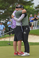 Sung Hyun Park (KOR) hugs her caddie after winning the 2018 KPMG Women's PGA Championship, Kemper Lakes Golf Club, at Kildeer, Illinois, USA. 7/1/2018.<br /> Picture: Golffile | Ken Murray<br /> <br /> All photo usage must carry mandatory copyright credit (&copy; Golffile | Ken Murray)