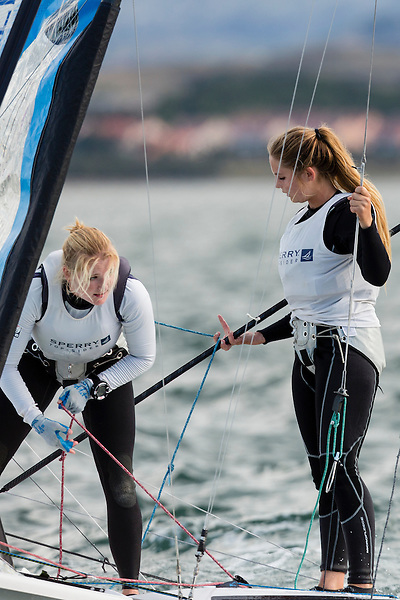 SANTANDER, SPAIN - SEPTEMBER 17:  49erFX - USA826 - Paris Henken / Helena Scutt in action during Day 6 of the 2014 ISAF Sailing World Championships on September 17, 2014 in Santander, Spain.  (Photo by MickAnderson/SAILINGPIX via Getty Images)