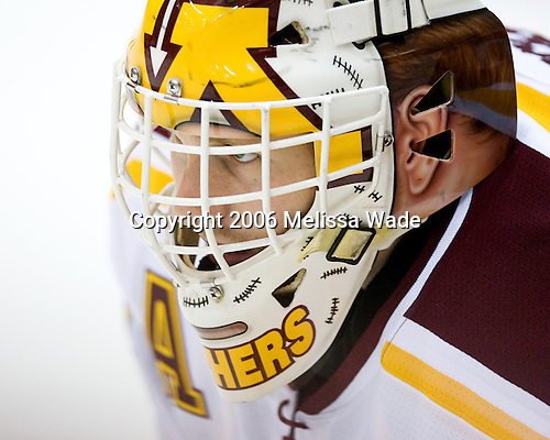 Kellen Briggs (University of Minnesota - Coon Rapids, MN) warms up. The University of Minnesota Golden Gophers defeated the Michigan State University Spartans 5-4 on Friday, November 24, 2006 at Mariucci Arena in Minneapolis, Minnesota, as part of the College Hockey Showcase.
