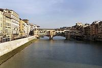 Una veduta di Ponte Vecchio, sull'Arno, alla luce del tramonto, a Firenze.<br /> A view of Ponte Vecchio (Old Bridge), on the Arno river, at sunset's light, in Florence.<br /> UPDATE IMAGES PRESS/Riccardo De Luca