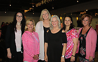 NWA Democrat-Gazette/CARIN SCHOPPMEYER Leslie Henderson (from left), Kim Bearden, Elaine Thompson, Judy Henbest, Lora Fox and Tracy Benson attend the Komen Ozark Promise Circle luncheon March 29 at Mermaids Seafood Restaurant in Fayetteville.