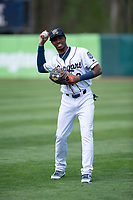 Kane County Cougars left fielder Tra Holmes (3) before a Midwest League game against the Cedar Rapids Kernels at Northwestern Medicine Field on April 28, 2019 in Geneva, Illinois. Kane County defeated Cedar Rapids 3-2 in game one of a doubleheader. (Zachary Lucy/Four Seam Images)