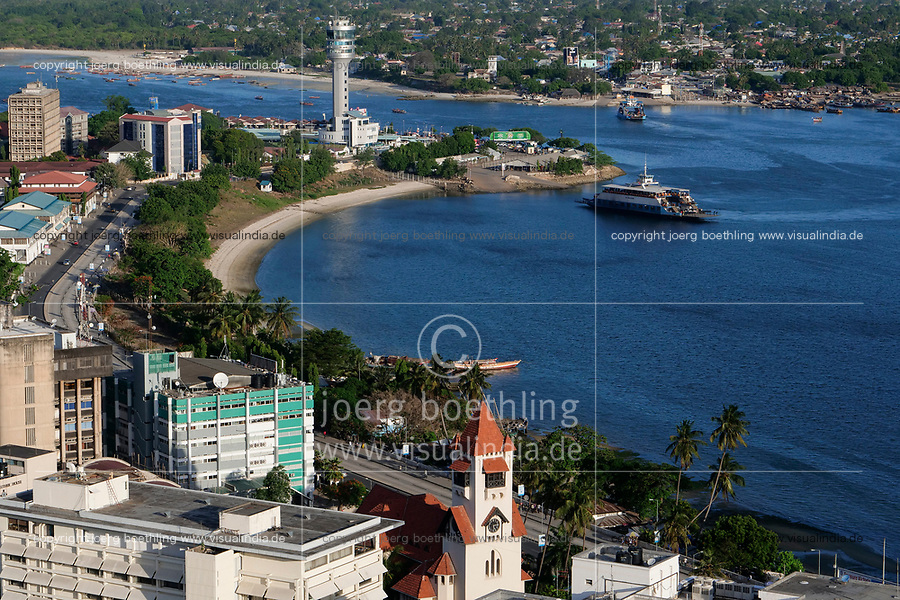 TANZANIA Daressalaam, bay and seaport, in front protestant Azania Front cathedral, built during german colonial time, Kigamboni Ferry Terminal