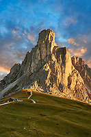 Nuvolau at sunset mountain above the Giau Pass (Passo di Giau), Colle Santa Lucia, Dolomites, Belluno, Italy
