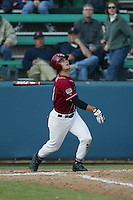 Chris Pettit of the Loyola Marymount Lions bats during a 2004 season game at Page Stadium, in Los Angeles, California. (Larry Goren/Four Seam Images)