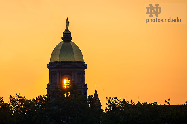 September 10, 2017; Main building at sunrise (Photo by Matt Cashore/University of Notre Dame)