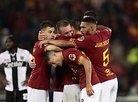 Football, Serie A: AS Roma - Parma, Olympic stadium, Rome, May 26, 2019. <br /> Roma's Lorenzo Pellegrini (c) celebrates after scoring with his teammates during the Italian Serie A football match between Roma and Parma at Olympic stadium in Rome, on May 26, 2019.<br /> UPDATE IMAGES PRESS/Isabella Bonotto