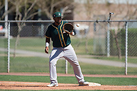 Oakland Athletics first baseman Miguel Mercedes (25) during a Minor League Spring Training game against the Chicago Cubs at Sloan Park on March 19, 2018 in Mesa, Arizona. (Zachary Lucy/Four Seam Images)