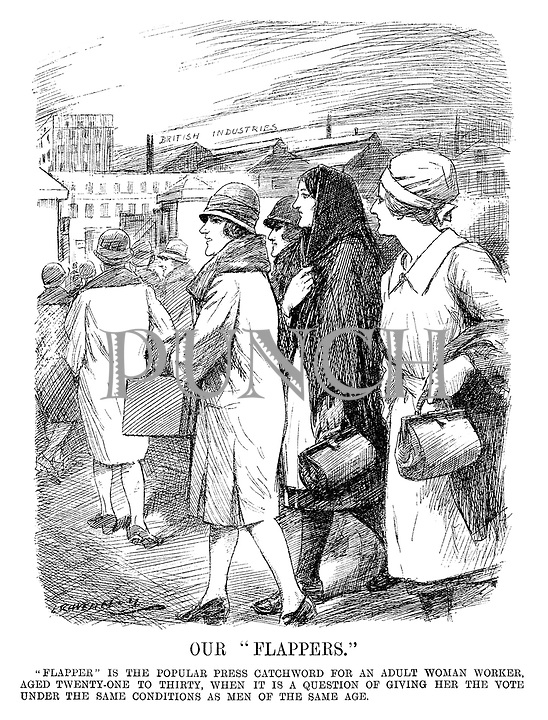 "Our ""Flappers."" ""Flapper"" is the popular press catchword for an adult woman worker, aged twenty-one to thirty, when it is a question of giving her the vote under the same conditions as men of the same age. (ironic cartoon showing Punch magazine's version of Flappers as working women in the British Industries during the InterWar era)"