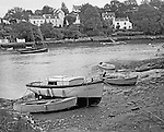 Fishing boats in the pretty town of Bono situated at the confluence of the rivers Auray and Bono in the Morbihan region.
