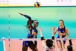 Paola Ogechi Egonu of Italy attacks during the FIVB Volleyball Nations League Hong Kong match between Japan and Italy on May 29, 2018 in Hong Kong, Hong Kong. Photo by Marcio Rodrigo Machado / Power Sport Images