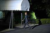 United States President Barack Obama walks into the White House after arriving at the White House in Washington, DC following campaign stops in Fayetteville and Charlotte, North Carolina for Democratic presidential candidate Hillary Clinton on Friday, November 4, 2016.  <br /> Credit: Ron Sachs / CNP