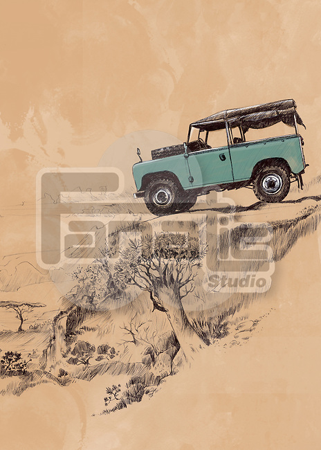 Illustrative image of SUV in remote area
