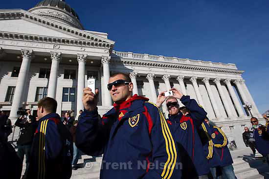 Celebration for Real Salt Lake's MLS Cup win Tuesday, November 24 2009. yura movsisyan, nat borchers