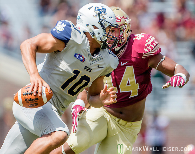 DeMarcus Walker chases down Charleston Southern quarterback Robert Mitchell in the first half of Florida State's 52-8 win over Charleston Southern in their NCAA football game at Doak Campbell Stadium in Tallahassee Florida September 10, 2016.