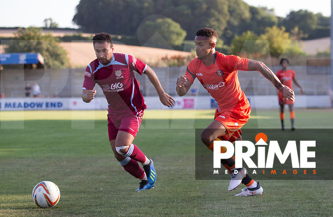 Paris Cowan-Hall of Wycombe Wanderers during the 2018/19 Pre Season Friendly match between Chesham United and Wycombe Wanderers at the Meadow , Chesham, England on 24 July 2018. Photo by Andy Rowland.