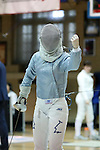 12 February 2017: Duke's Haley Fisher during Saber. The Duke University Blue Devils hosted the Boston College Eagles at Card Gym in Durham, North Carolina in a 2017 College Women's Fencing match. Duke won the dual match 19-8 overall, 6-3 Foil, 5-4 Epee, and 8-1 Saber.