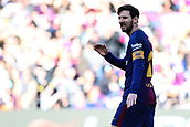 18th March 2018, Camp Nou, Barcelona, Spain; La Liga football, Barcelona versus Athletic Bilbao; Lionel Messi of FC Barcelona misses a good scoring opportunity