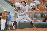 Arizona State Sun Devil pitcher Mitchell Lambson #40 delivers against the Texas Longhorns in NCAA Tournament Super Regional baseball on June 10, 2011 at Disch Falk Field in Austin, Texas. (Photo by Andrew Woolley / Four Seam Images)