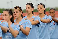 Sky Blue FC players during the playing of the national anthem. FC Gold Pride defeated Sky Blue FC 1-0 during a Women's Professional Soccer (WPS) match at Yurcak Field in Piscataway, NJ, on May 1, 2010.