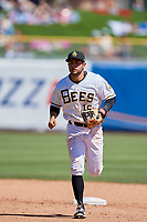 David Fletcher (15) of the Salt Lake Bees during the game against the Albuquerque Isotopes at Smith's Ballpark on April 22, 2018 in Salt Lake City, Utah. The Bees defeated the Isotopes 11-9. (Stephen Smith/Four Seam Images)
