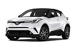 Stock pictures of low aggressive front three quarter view of a 2018 Toyota C-HR C-ULT 5 Door SUV