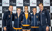 Bratislava, Slovenia, April 21, 2017,  FedCup: Slovakia-Netherlands, Draw ceremony, Dutch team, lor: Kiki Bertens, Richel Hogenkamp, Arantxa Rus, Cindy Burger and Captain Paul Haarhuis.<br /> Photo: Tennisimages/Henk Koster