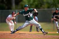Michigan State Spartans relief pitcher Riley McCauley (4) delivers a pitch during a game against the Illinois State Redbirds on March 8, 2016 at North Charlotte Regional Park in Port Charlotte, Florida.  Michigan State defeated Illinois State 15-0.  (Mike Janes/Four Seam Images)