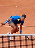 Lo spagnolo Rafael Nadal in azione durante la finale maschile degli Internazionali d'Italia di tennis a Roma, 18 maggio 2014.<br /> Spain's Rafael Nadal in action during the men's final match of the Italian open tennis tournament, in Rome, 18 May 2014.<br /> UPDATE IMAGES PRESS/Isabella Bonotto