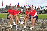 Kristen Gillman, Jennifer Kupcho, Lilia Vu Team Captain Stasia Collins Team USA with the Espirito Santo Trophy after the final of the World Amateur Team Championships 2018, Carton House, Kildare, Ireland. 01/09/2018.<br /> Picture Fran Caffrey / Golffile.ie<br /> <br /> All photo usage must carry mandatory copyright credit (&copy; Golffile | Fran Caffrey)