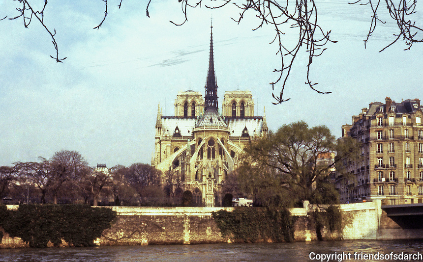Paris: Notre Dame from Isle St. Louis. River Seine. Photo  '90.