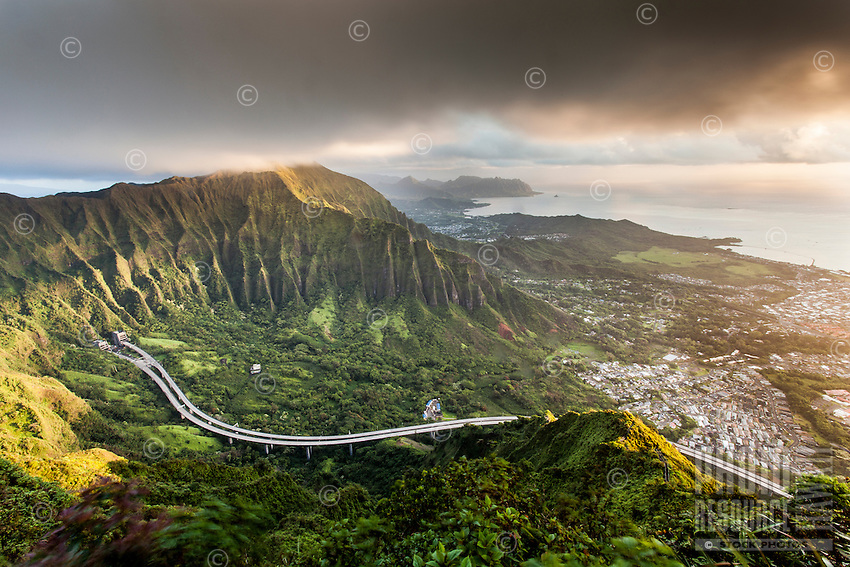 "An aerial view at dawn of the Ko'olau Range and H-3 Highway in Ha'iku Valley from Haiku Stairs (""Stairway to Heaven"") hiking trail in Kane'ohe, O'ahu."