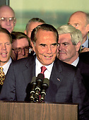 United States Senate Majority Leader Bob Dole (Republican of Kansas), the presumptive 1996 Republican Party candidate for President of the United States, announces he will resign his seat in the US Senate on or before June 11, 1996 to concentrate on his presidential campaign in Washington, DC on Wednesday, May 15, 1996.  <br /> Credit: Arnie Sachs / CNP