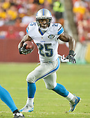 Detroit Lions running back Theo Riddick (25) carries the ball in first quarter action against the Washington Redskins at FedEx Field in Landover, Maryland on Thursday, August 20, 2015.<br /> Credit: Ron Sachs / CNP