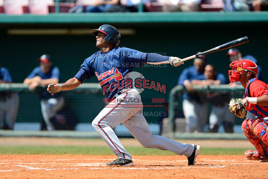 Atlanta Braves infielder Edward Salcedo #53 during a minor league Spring Training game against the Philadelphia Phillies at Al Lang Field on March 14, 2013 in St. Petersburg, Florida.  (Mike Janes/Four Seam Images)