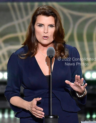 Kimberlin Brown, actress and businesswoman, makes remarks at the 2016 Republican National Convention held at the Quicken Loans Arena in Cleveland, Ohio on Tuesday, July 19, 2016.<br /> Credit: Ron Sachs / CNP<br /> (RESTRICTION: NO New York or New Jersey Newspapers or newspapers within a 75 mile radius of New York City)