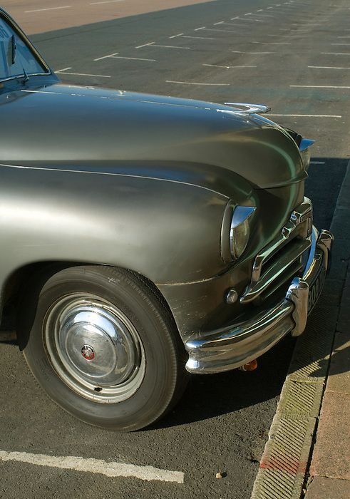 A classic car - a Vanguard - parked on Brighton seafront. England 2008.